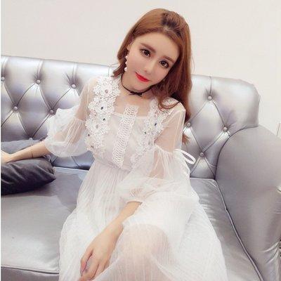 日韓女裝 洋裝 T恤 女褲 2019新款時尚夏款韓版網紗很仙的法國小眾連衣裙打底吊帶兩件套女