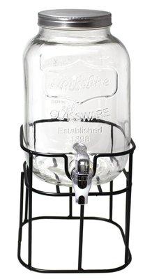 梅森罐 玻璃罐 【現貨】*送贈品* 工業風! 4公升MASON JAR附水龍頭鐵支架 飲料機 果汁機 CLIQ00002