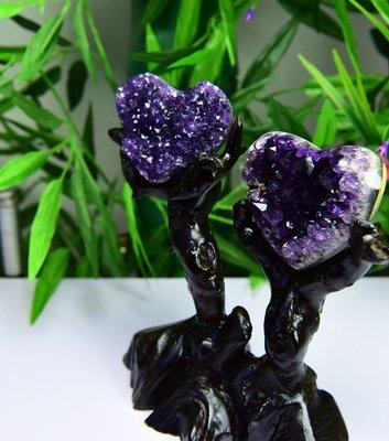 天然烏拉圭原石紫晶洞擺件 紫晶心心相印 紫晶簇擺件
