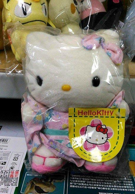陽光一品~Hello Kitty- KT和服.浴衣絨毛娃娃(中/坐姿)-- 粉紅花