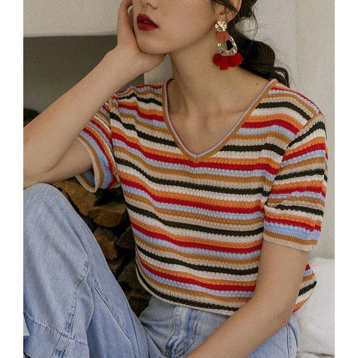 背心吊帶百搭V領彩色彩虹條紋T恤女寬松短袖針織打底衫短款上衣內搭外穿夏
