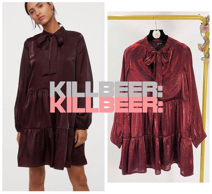 KillBeer:小姊姊等等我之 歐美復古典雅氣質節慶豔紅光澤雷射緞面綁帶領結泡泡袖連身裙洋裝010419