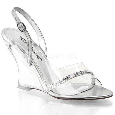 Shoes InStyle《四吋》美國品牌 FABULICIOUS 原廠正品透明楔型高跟涼鞋 出清『銀色』