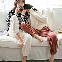 長褲睡衣縮口褲 日式雜誌款男女加厚居家外穿兩用保暖珊瑚絨束腳褲 艾爾莎【TAE8181】