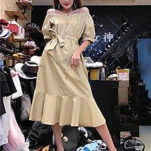 格格家2018夏裝新款氣質一字肩泡泡袖純色顯瘦中長款魚尾連衣裙女