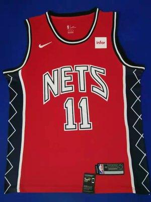 保真凱里·厄文(Kyrie Irving)  NBA布魯克林籃網隊 球衣 歐文復古版 11號 紅色