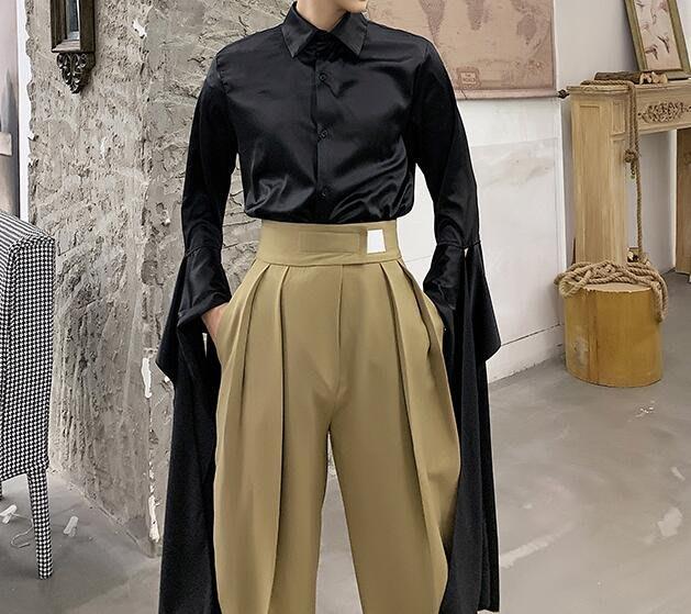 FINDSENSE 品牌 2019 春季 新款 寬鬆  潮流  個性 社會 男青年 飄帶 長袖 免燙 襯衫 復古 氣質