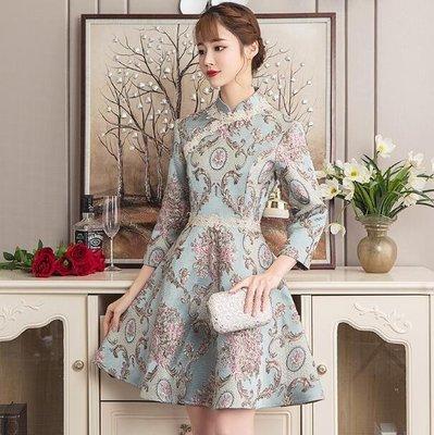 旗袍 婚禮洋裝  中國風少女氣質年輕日常改良旗袍 中長款連身裙 旗袍短裙 喜宴洋裝—莎芭