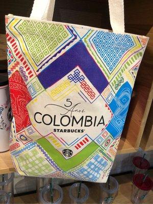 星巴克-帆布環保袋 購物袋 提袋-哥倫比亞五周年紀念- 哥倫比亞當地門市購回  原價20美金