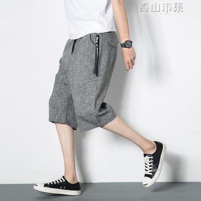 男士日繫寬鬆七分褲夏繫青少年7分褲大碼短褲男夏天寬鬆闊腿褲薄