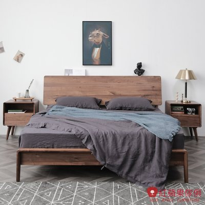 [紅蘋果傢俱]HM002  5尺床架 北歐風床架 日式床架 實木床架 無印風 簡約風