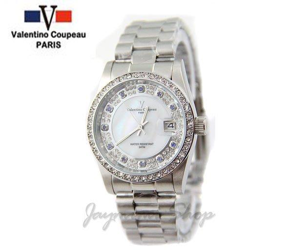 【JAYMIMI傑米】Valentino范倫鐵諾古柏不鏽鋼腕錶-貝殼面水鑽面板石英錶 特價850 大