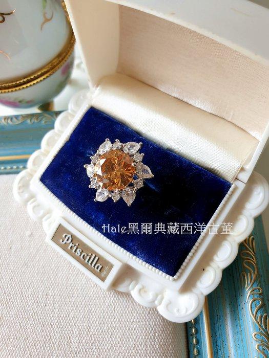 黑爾典藏西洋古董~純925銀奢華豪華鑲嵌黃寶石梨型銀戒 ~珠寶鑽石水晶蕾絲婚紗晚宴包