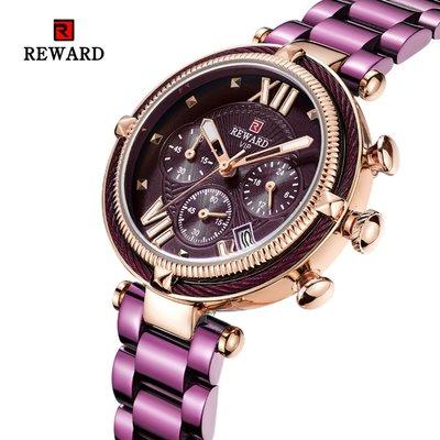 【潮裡潮氣】REWARD新款女士手錶時尚三眼六針帶日曆石英運動女錶女士手錶RD63084L