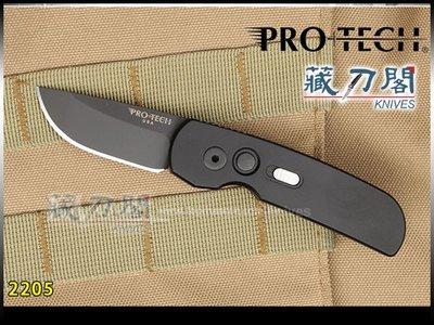 《藏刀閣》Protech-(2205)Calmigo-緊湊型小側彈刀(黑柄/黑平刃)