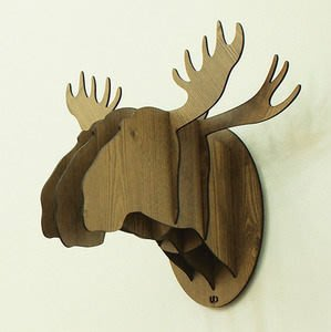 Growlife 種生活▶ 韓國Unminuto - Mini Moose迷你麋鹿木紋壁飾 壁掛/掛飾/動物頭裝飾品/歐式裝飾