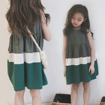 莎芭 背心裙 夏季新款三色拼無袖連身裙 百褶裙 兒童條紋短裙 0-15歲