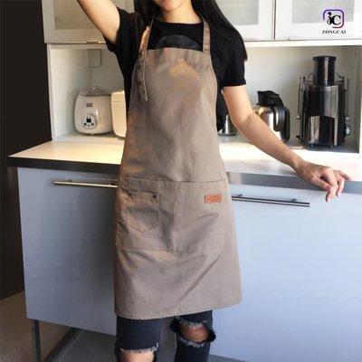 現貨/帆布圍裙定制印字奶茶咖啡店烘焙餐廳美甲韓版時尚男女工作服/海淘吧F56LO 促銷價