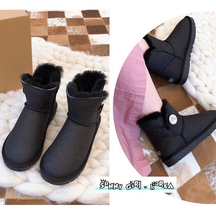 雪靴*Sunny Girl*澳洲UGG同廠真皮3352滿天星款鑽扣羊毛短筒靴 2020一月新款 - [WH1441]