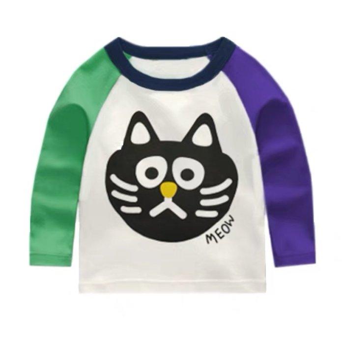QQ羊*LA006-7新款男女童超柔棉長袖上衣 圓領T恤90~140cm,黑貓