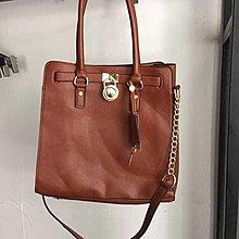 $439- bag m 原單 明星街拍經典款 棕色 全皮 真皮 十字紋 牛皮 手挽 肩背包 大号 hamilt*n 包 袋 手袋 超值清
