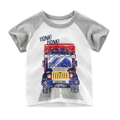 【可愛村】大卡車棉感短袖T恤上衣 短袖上衣 童裝 上衣 T恤