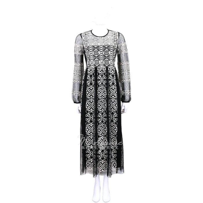 米蘭廣場 RED VALENTINO 刺繡圖紋黑色網紗晚宴長洋裝(附內襯裙) 1840626-37