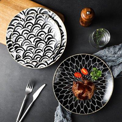有一間店-北歐擺盤餐具簡約創意西餐盤意面盤條紋西式甜品盤個性餐盤子(規格不同 價格不同)