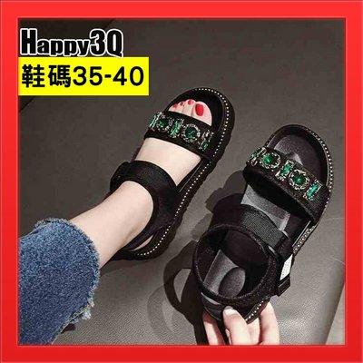 大顆水鑽涼鞋一字扣平底涼鞋低跟拖鞋圓頭鞋逛街百搭-綠/銀35-40【AAA4870】