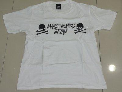 二手美品 Stussy x MASTERMIND JAPAN MMJ TEE T恤 草寫 骷髏頭   白 S