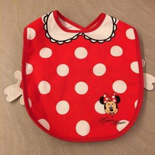 Ariel's Wish-日本迪士尼阿卡將米妮小手水玉點點離乳學習二合一用餐軟布收納圍兜兜BABY滿月彌月周歲禮-日本製