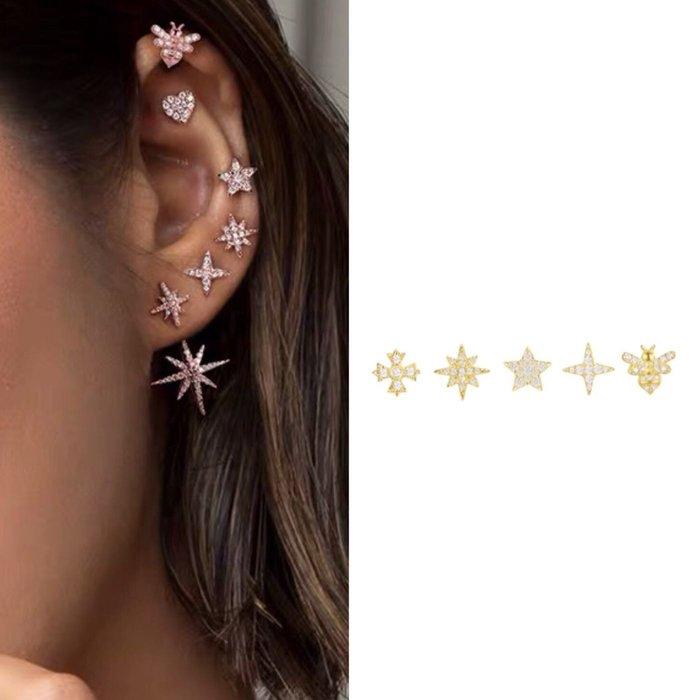 💎1449、(各種系列都能預購)推薦!超百搭模特金鑲miniAPM經典豪華五件套組耳環(可加價購鎏金耳堵塞)💎正韓飾品 耳環