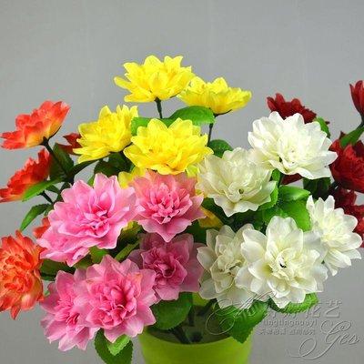 高仿花仿真7頭芍藥牡丹玫瑰花把花客廳裝飾擺件婚慶節日布置工程用花束