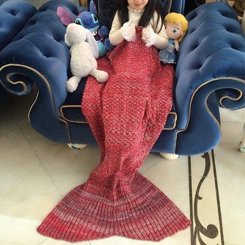 美人魚尾巴毯子?綸美人魚毯加厚沙發蓋毯復古毛線毯生日禮物