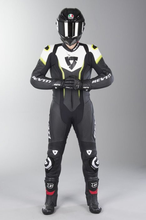 【柏霖動機 台中門市】荷蘭 REVIT  Argon 連身皮衣 FOL031 皮衣 連身  白螢黃色 送賽道體驗!