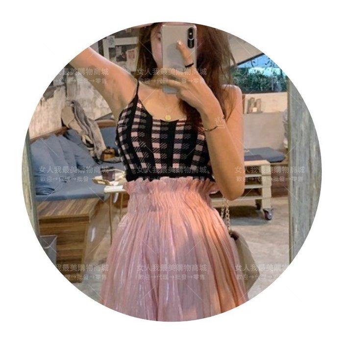 俏麗甜美可愛格子吊帶小背心+高腰褶皺裙兩件套裝