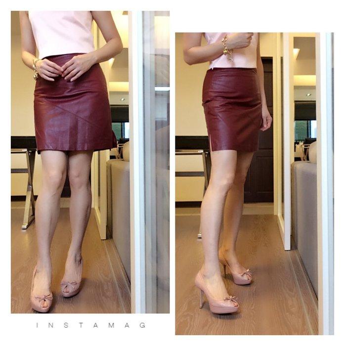 *Beauty*SHAN HO GAMMA紅色皮裙 短裙 PH