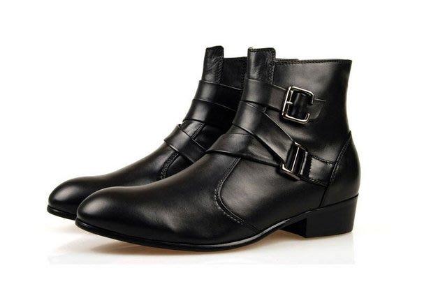 【JP.美日韓】牛皮軍靴 厚底 高跟鞋 真皮 英倫高幫靴 馬丁靴男靴子短靴 潮流男鞋皮靴