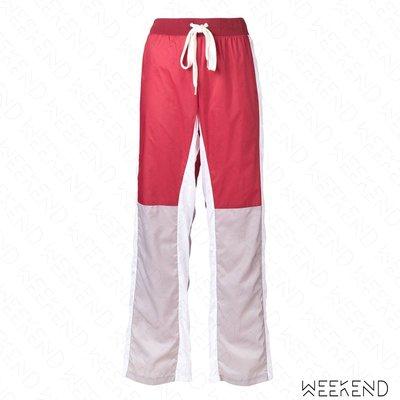 【WEEKEND】 EACH X OTHER 拼接 側邊拉鍊 鬆緊褲頭 休閒 運動 長褲 紅色 18秋冬