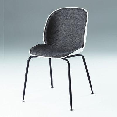 【在地人傢俱】20 幸福購-PP-719-2黑鐵腳深灰色布後白色PP休閒椅/餐椅 CS924-14