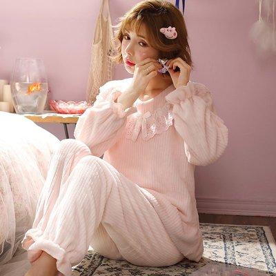 【星語】睡衣女冬季韓版加厚珊瑚絨花邊公主風清新秋冬法蘭絨家居服套裝嘿A22