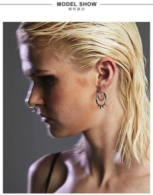 BLACKHEAD黑頭 設計師潮牌 歐美個性英倫龐克 BLACKHEART銀色圓環尖刺鈦鋼耳環