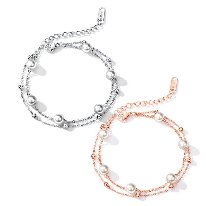 日韓鍍18K玫瑰金簡約仿珍珠雙層手鍊流行彩金配飾禮物N921