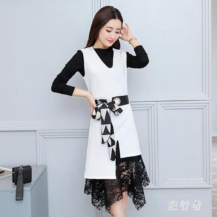 春裝套裝時尚兩件式洋裝2019新款名媛針織毛衣裙時尚蕾絲短裙 mj10837