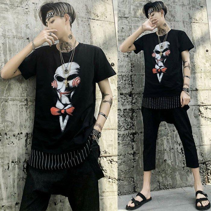 『潮范』 S4 新款短袖T恤 面具電鋸驚魂印花骷髏圖案T恤 男士撞色T恤 潮T恤NRG757