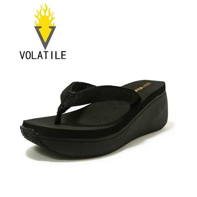 拖鞋VERY VOLATILE新款高跟人字拖女夏季坡跟夾腳涼拖鞋厚底防滑沙灘
