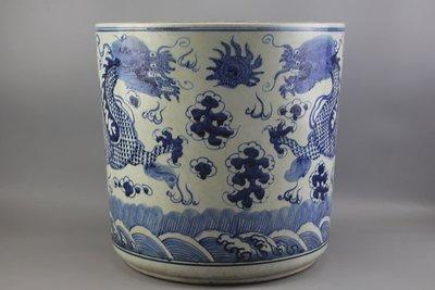 ㊣姥姥的寶藏㊣元青花雙龍戲珠紋大香爐 古玩 民間收藏