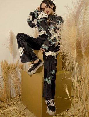 【黑店】中國風白鶴印花絲絨休閒長褲 個性穿搭暗黑系長褲 絲絨長褲 中國風百搭絲絨白鶴休閒褲 OT118