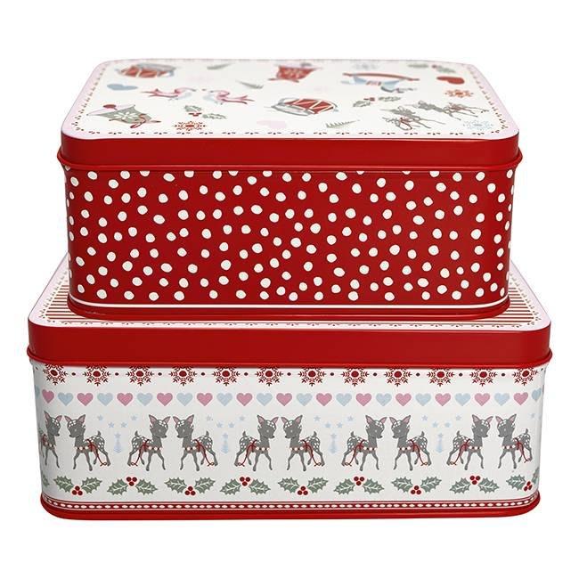 GreenGate Rectangle Tin Box Set - Bambi White
