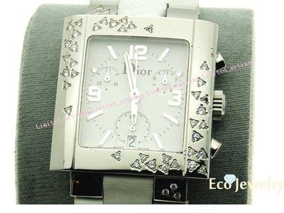 《Eco-jewelry》【DIOR】 經典鑽石雨系列三眼蝴蝶扣立體雕花白錶帶石英錶~專櫃真品 美品